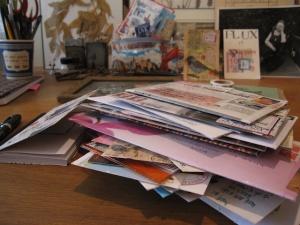 1 blog pile on desk