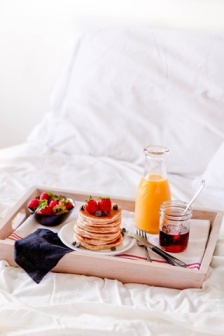 This breakfast in bed would be wonderful if you had a butler or ladies maid who prepared it and carried it into your room for you.